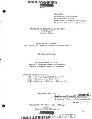 Primary view of object titled 'METALLURGY DIVISION QUARTERLY REPORT FOR OCTOBER, NOVEMBER, AND DECEMBER 1956'.