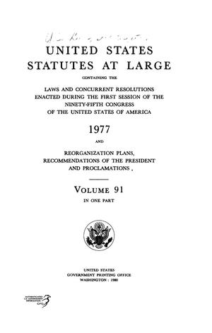 Primary view of object titled 'United States Statutes At Large, Volume 91, 1977'.