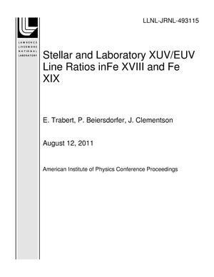 Primary view of object titled 'Stellar and Laboratory XUV/EUV Line Ratios inFe XVIII and Fe XIX'.