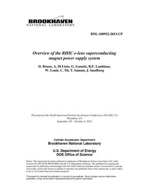Primary view of object titled 'Overview of the RHIC e-Lens Superconducting Magnet Power Supply System'.
