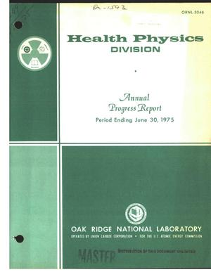 Primary view of object titled 'Health Physics Division annual progress report for period ending June 30, 1975'.