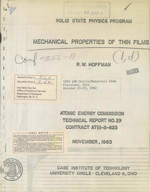 Primary view of object titled 'MECHANICAL PROPERTIES OF THIN FILMS. Technical Report No. 29'.