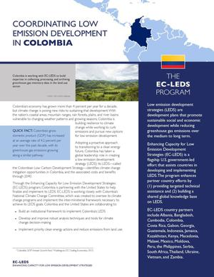 Primary view of object titled 'Coordinating Low Emission Development in Columbia (Fact Sheet)'.