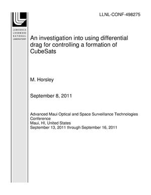Primary view of object titled 'An investigation into using differential drag for controlling a formation of CubeSats'.