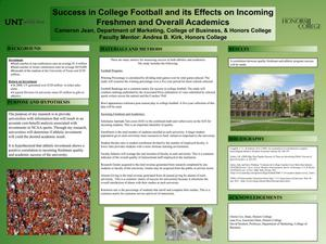 Primary view of object titled 'Success in College Football and its Effects on Incoming Freshmen and Overall Academics'.