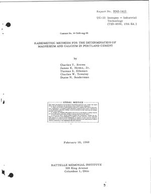 Primary view of object titled 'RADIOMETRIC METHODS FOR THE DETERMINATION OF MAGNESIUM AND CALCIUM IN PORTLAND CEMENT'.