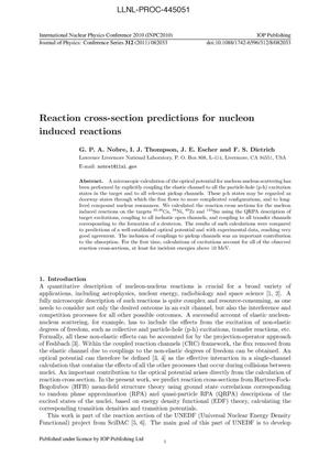 Primary view of object titled 'Reaction cross-section predictions for nucleon induced reactions'.