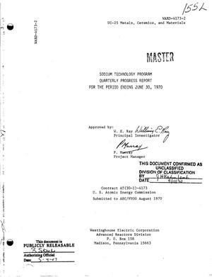 Primary view of object titled 'SODIUM TECHNOLOGY PROGRAM. Quarterly Progress Report for the Period Ending June 30, 1970.'.