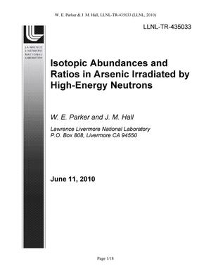 Primary view of object titled 'Isotopic Abundances and Ratios in Arsenic Irradiated by High-Energy Neutrons'.