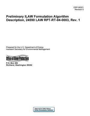 Primary view of object titled 'Preliminary ILAW Formulation Algorithm Description, 24590 LAW RPT-RT-04-0003, Rev. 1'.