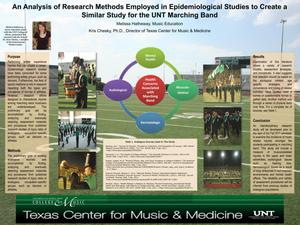 Primary view of object titled 'An Analysis of Research Methods Employed in Epidemiological Studies to Create a Similar Study for the UNT Marching Band'.
