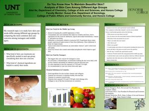 Primary view of object titled 'Do You Know How To Maintain Beautiful Skin? Analysis of Skin Care Among Different Age Groups'.