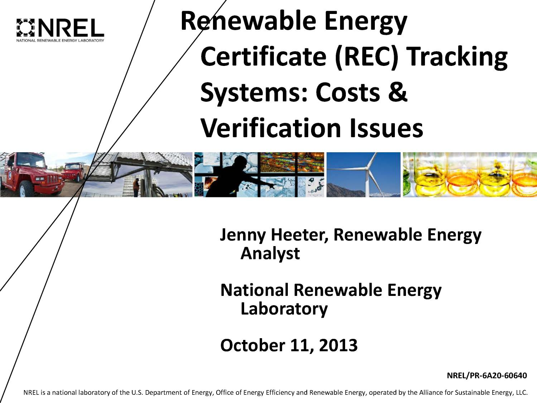 Renewable energy certificate rec tracking systems costs renewable energy certificate rec tracking systems costs verification issues presentation digital library xflitez Gallery