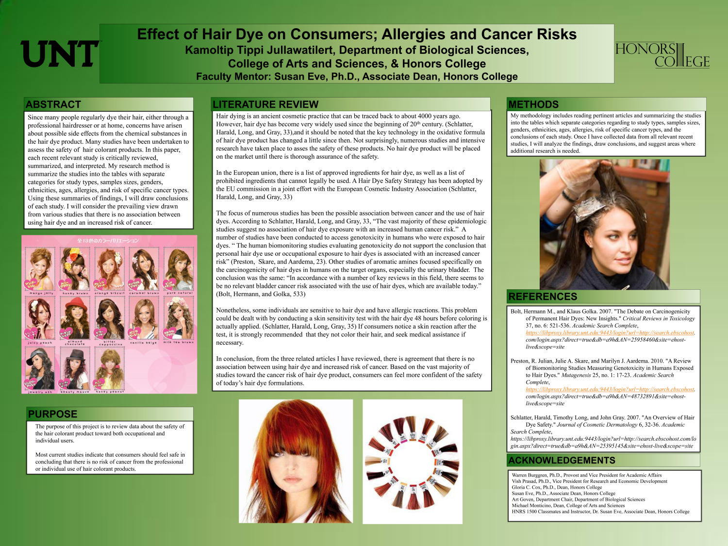 Effect of Hair Dye on Consumers; Allergies and Cancer Risks                                                                                                      [Sequence #]: 1 of 1