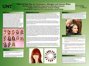 Primary view of object titled 'Effect of Hair Dye on Consumers; Allergies and Cancer Risks'.