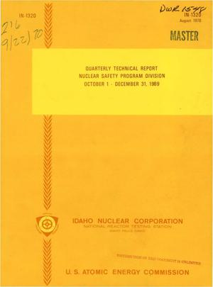 Primary view of object titled 'NUCLEAR SAFETY PROGRAM DIVISION QUARTERLY TECHNICAL REPORT, OCTOBER 1-- DECEMBER 31, 1969.'.