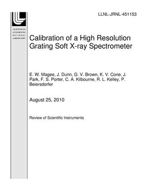 Primary view of object titled 'Calibration of a High Resolution Grating Soft X-ray Spectrometer'.