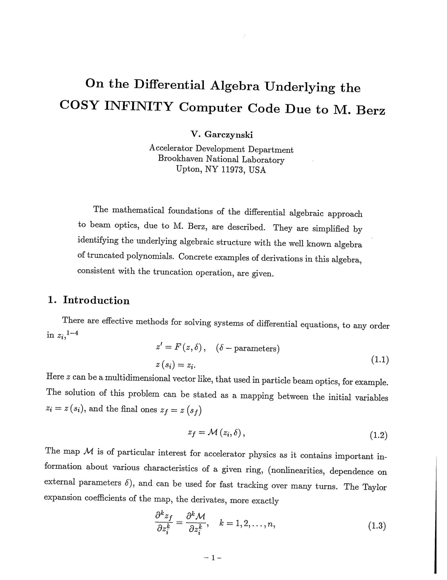 On the Differential Algebra Underlying the COSY INFINITY Computer Code Due to M. Berz                                                                                                      [Sequence #]: 2 of 29
