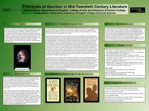Primary view of object titled 'Portrayals of Abortion in Mid-Twentieth Century Literature'.