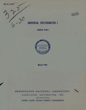 Primary view of object titled 'Universal Spectrometer I'.