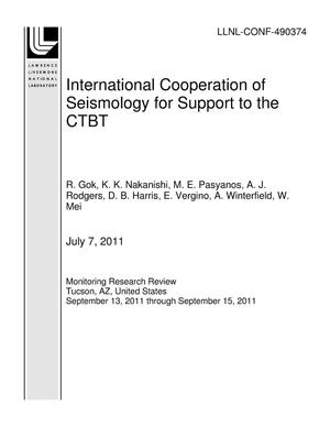 Primary view of object titled 'International Cooperation of Seismology for Support to the CTBT'.