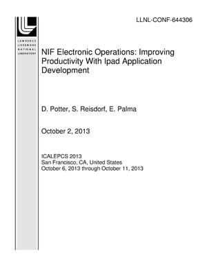 Primary view of object titled 'NIF Electronic Operations: Improving Productivity With Ipad Application Development'.