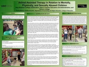 Primary view of object titled 'Animal Assisted Therapy in Relation to Mentally, Physically, and Sexually Abused Children'.