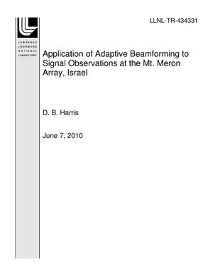 Primary view of object titled 'Application of Adaptive Beamforming to Signal Observations at the Mt. Meron Array, Israel'.