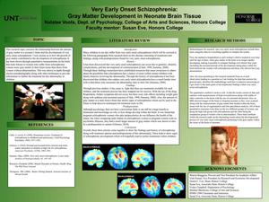 Primary view of object titled 'Very Early Onset Schizophrenia: Gray Matter Development in Neonate Brain Tissue'.