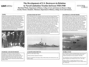 Primary view of object titled 'The Development of U.S. Destroyers in Relation to Naval Limitation Treaties between 1920-1940'.