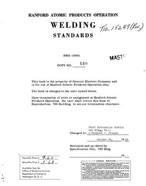Primary view of object titled 'WELDING STANDARDS'.