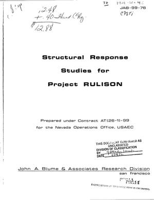 Primary view of object titled 'STRUCTURAL RESPONSE STUDIES FOR PROJECT RULISON.'.