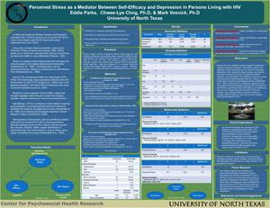 Primary view of object titled 'Perceived Stress as a Mediator Between Self-Efficacy and Depression in Persons Living with HIV'.
