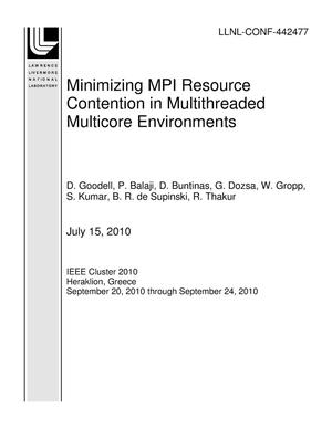 Primary view of object titled 'Minimizing MPI Resource Contention in Multithreaded Multicore Environments'.