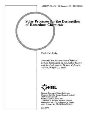 Primary view of object titled 'Solar Processes for the Destruction of Hazardous Chemicals'.