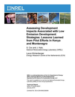 Primary view of object titled 'Assessing Development Impacts Associated with Low Emission Development Strategies: Lessons Learned from Pilot Efforts in Kenya and Montenegro'.
