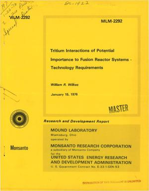 Primary view of object titled 'Tritium interactions of potential importance to fusion reactor systems: technology requirements'.