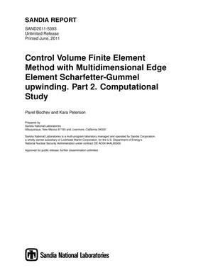 Primary view of object titled 'Control Volume Finite Element Method with Multidimensional Edge Element Scharfetter-Gummel upwinding. Part 2. Computational Study.'.