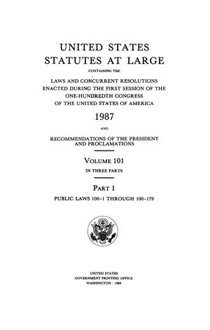 Primary view of object titled 'United States Statutes At Large, Volume 101, 1987'.