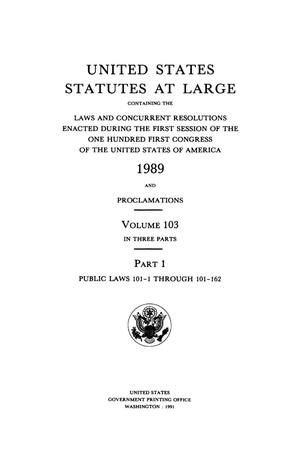 Primary view of object titled 'United States Statutes At Large, Volume 103, 1989'.