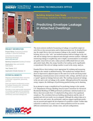 Primary view of object titled 'Predicting Envelope Leakage in Attached Dwellings (Fact Sheet)'.