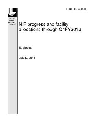 Primary view of object titled 'NIF progress and facility allocations through Q4FY2012'.