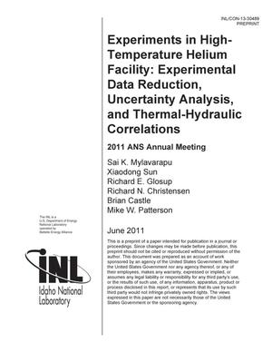 Primary view of object titled 'Experiments in High-Temperature Helium Facility: E'.