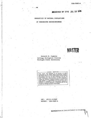 Primary view of object titled 'ENERGETICS OF NATURAL POPULATIONS OF FRESHWATER MACROCONSUMERS. Technical Progress Report, October 1, 1969--July 31, 1970.'.