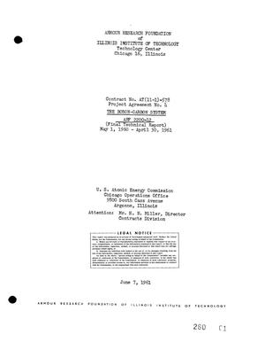 Primary view of object titled 'THE BORON-CARBON SYSTEM. Final Technical Report, May 1, 1960-April 30, 1961'.