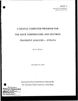 Primary view of object titled 'A Digital Computer Program for the Egcr Temperature and Neutron Transient Analysis--Etnata'.