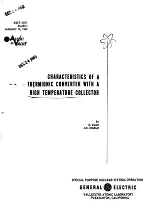 Primary view of object titled 'CHARACTERISTICS OF A THERMIONIC CONVERTER WITH A HIGH-TEMPERATURE COLLECTOR'.
