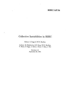 Primary view of object titled 'Collective Instabilities in RHIC'.