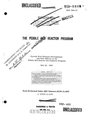 Primary view of object titled 'THE PEBBLE BED REACTOR PROGRAM. Current Fuel Element Developments and Their Effects on the Pebble Bed Reactor Development Program'.