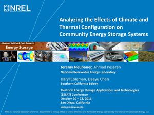 Primary view of object titled 'Analyzing the Effects of Climate and Thermal Configuration on Community Energy Storage Systems (Presentation)'.